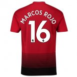 NO.16 Marcos Rouge Domicile Manchester United Maillot Football Pas Cher 2018-2019